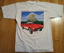 Vintage CORVETTE shirt L Chevrolet 57 Fuelie Chevy 90s Devils Tower white car