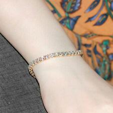 Round Lab Created Moissanite Diamond Tennis Bracelets Solid 14K Yellow Gold