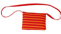 Tropez Striped Red Canvas Zip Design Womens Crossbody Bag
