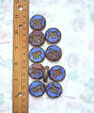 2pcs 26mm Multi Color BUTTERFLY PICASSO CHUNKY Table Cut Coin Czech Glass Beads