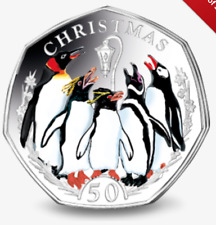 2017 50P COIN CHRISTMAS CARD PENGUINS UNCIRCULATED FIFTY PENCE LIMITED EDITION @