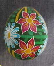 Pysanka, Real Ukrainian Easter Egg, Hen Shell, Scratch Technique,Flowers, Z1
