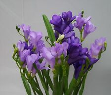 ARTIFICIAL SILK FLOWERS FREESIA 12 STEMS LAVENDER AND PURPLE
