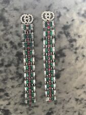 SILVER RED GREEN DIAMANTÉ GUCCI-INSPIRED VINTAGE EARRINGS RHINESTONE CRYSTALs