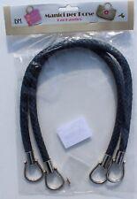 1 Paar hochwertige Taschengriffe, lederoptik, geflochten, dunkelblau, 55cm