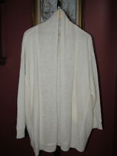 Pure DNKY Acrylic Alpaca Wool Cream Open Front Cardigan Sweater M L