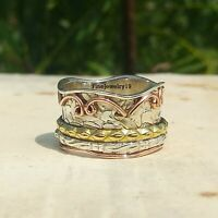 925 Sterling Silver Spinner Ring Wide Band Meditation Statement Jewelry A117