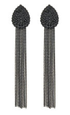 Clip On Earrings - black crystal teardrop with a long chain fringe - Brook