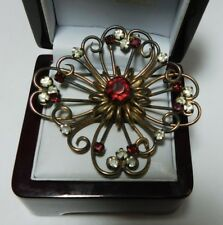 1940' Sterling Silver Gold Pl Red White Rhinestones Christmas Brooch signed WR