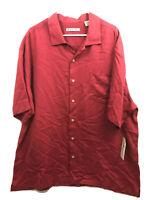 Batik Bay Button Up Shirt Mens 2XL Red Short Sleeve Rayon Polyester Blend New