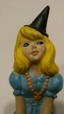 Vintage Atlantic Mold Halloween Girl Sitting on Pumpkin Blue Dress & Witches Hat