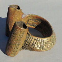 an exceptional old antique brass african bracelet ethiopia #156