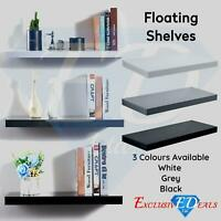 High Gloss Floating Display Shelves Wall Mounted Hidden Bracket Shelf In 5 Sizes