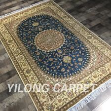 4'X6' Blue Oriental Handmade Silk Rug Home Flooring Handknotted Area Carpet 400c