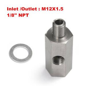 "1/8"" NPT Oil Pressure Sensor Tee to M12x1.5 Adapter Turbo Supply Feed Line Gauge"