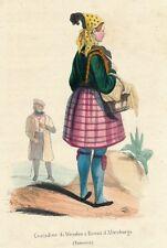 1840 Hand Color Lithographie Deutsch Kostüm wenden Altenburg Sachsen