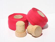 Manillar textil banda bio algodón, madera/tapón de corcho, Retro Vintage, rojo, bartape