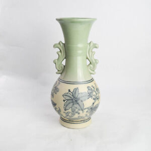Tall Fluted Green Blue Lily Floral Chinese Bulb Vase Chinoiserie Matte Crackle