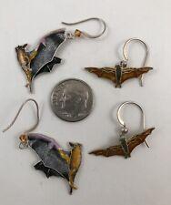 Halloween Bat Earrings (2) Sterling Cloisonne Vitreous Enamel Vintage