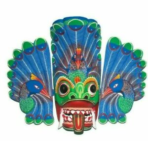 Perfect Gift Home Decor Sri Lankan Peacock Wooden Wall Art Mask Sculpture