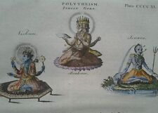 1797 GEORGIAN PRINT ~ INDIAN GODS VISHNU BRAHMA & ISWARA ~ HAND COLOURED