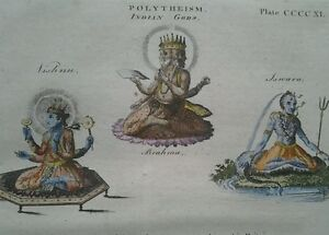 1797 Géorgien Imprimé ~ Indien Gods Vishnu Brahma & Iswara~ Main Coloré