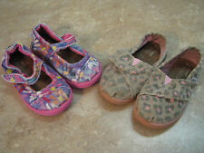 TINY TOMS Lot of Toddler Shoes BROWN/PINK LEOPARD Pink Floral Mary Janes SZ 6