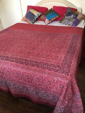 Red printed king size bed cover, summer blanket, kantha quilt, large sofa throw