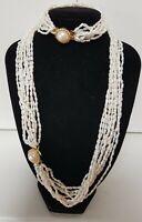 Vintage Sterling Silver 9 strand Freshwater Rice Pearl Necklace & Bracelet