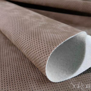 Faux Leather Fabric Synthetic Skin Upholstery Coating Tan Perforated 50CM