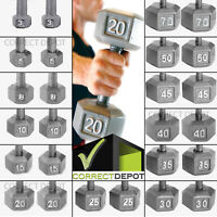 SET OF 2 CAST IRON HEX DUMBBELLS Fitness Gym Home Workout Barbell Weights PAIR