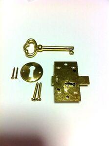 L-1B-10 BRASS PLATED STEEL FLUSH MNT CABINET DOOR LOCK & KEY (LOT OF 10 PCS)