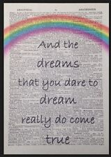 Somewhere over the rainbow vintage dictionnaire page Print Wizard of Oz Mur Art