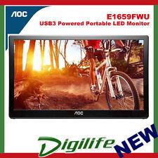 """AOC E1659FWU 15.6"""" 1366 x 768 8ms USB3 Powered Portable LED Monitor"""