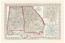 Old Vintage Map County & Township of Georgia and Alabama Mitchell 1874