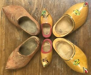 Lot Of Three Pairs Vintage Hand Carved  Souvenir Wooden Doll Baby Shoes