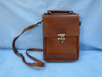 Vintage Retro Tan Cognac Real Leather Bag Travel Organizer Cross Body Messenger