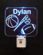 Personalized Sports LED Night Light - Baseball, Football, Basketball - kids lamp