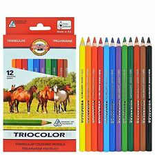KOH-I-NOOR TRIOCOLOR COLOURED PENCILS - Pack of 12 Assorted Colour Pencils