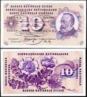 SWITZERLAND 10 FRANKEN 1972 P 45 VF SEE SCAN