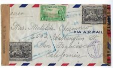 1943 Leon Nicaragua Airmail  to San Francisco CA, WWII Censored