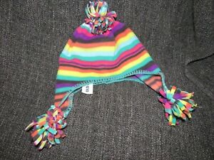 NWT OLD NAVY KIDS SIZE L/XL HAT WITH POM POMS RAINBOW COLOR STRIPPED