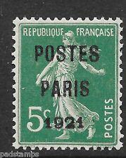 France 1921 5c Postes Paris o/p préoblitérés   vf MINT hinged  YT 26