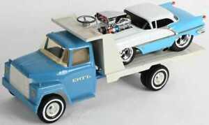 vintage ERTL flatbed tow hook truck.. w/1956 Oldsmobile 88 muscle drag race car!