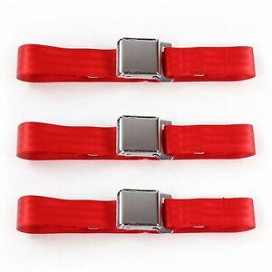 Jeep CJ/DJ 1953 - 1970 Airplane 2pt Red Lap Bench Seat Belt Kit - 3 Belts v8 rat