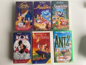 6 x VHS Tapes Disney & Dreamworks Aladdin Snow White Lion King Antz