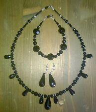 completo collana bracciale e orecchini nero perle sfaccettate a goccia argento