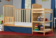 Full Size Crib With Changer Natural 2 In 1 Toddler Kid Bed Nursery Bedroom
