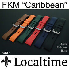 """New FKM """"CARIBBEAN"""" Watch Dive Strap Band Quick Release 6 Colours 20-22-24mm"""