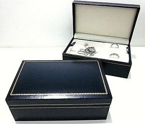 Leatherette Jewellery Gift Box-Blue-New-2 Tier-Multiple Jewellery Storage-RP324